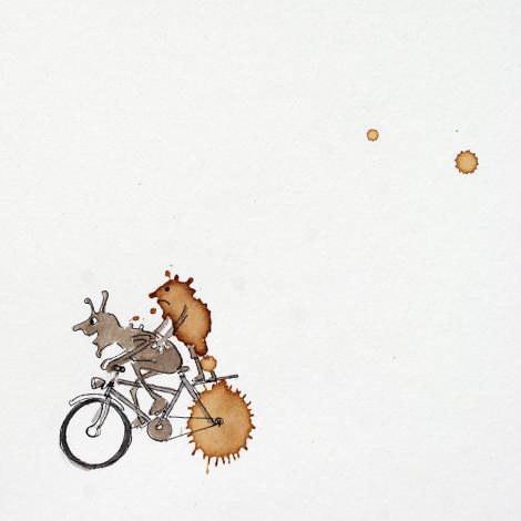 """""""Sunt momente când şi eu rămân surprins de unele ilustraţii"""". A """"lipit"""" ciclismul de boabele de cafea. Vezi ce a ieșit!"""