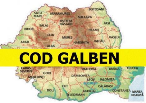 Atenționare de MAXIMĂ IMPORTANȚĂ! Este Cod GALBEN! Localitățile în care condițiile meteo vor fi periculoase în următoarele ore