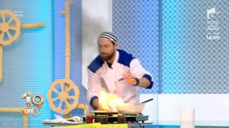 Panică la Neatza! Dani Oțil a dat foc la bucătărie în timp ce făcea clătite