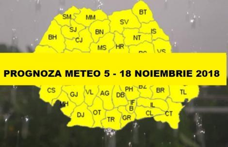 VINE IARNA. Prognoza meteo pe 2 săptămâni 5-18 noiembrie 2018
