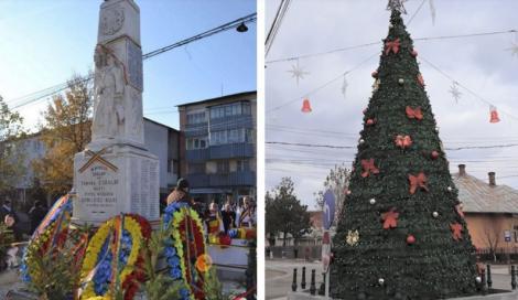 Și ce dacă au murit pentru noi? Un monument dedicat eroilor români din Primul Război Mondial, transformat în… brad de Crăciun – FOTO