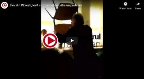 VIDEO| Elev, lovit cu scaunul de un profesor. Colegii spun că băiatul nu făcuse nimic greșit! Poliția s-a autosesizat