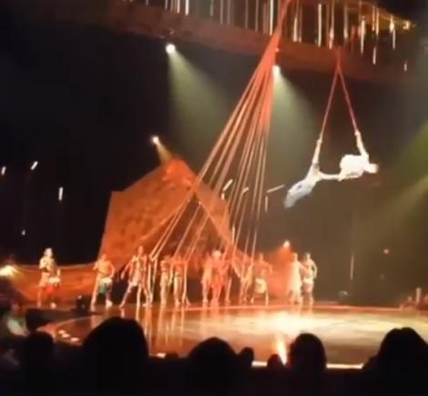 Clipe de groază în timpul unui spectacol de circ! Un acrobat a căzut de la înălțime amețitoare (VIDEO)