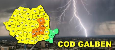 Ultimul anunț al meteorologilor: păzea, de abia acum vin ploile, furtunile, vijeliile și descărcările electrice! Avertizare de vreme rea în cinci judeţe!