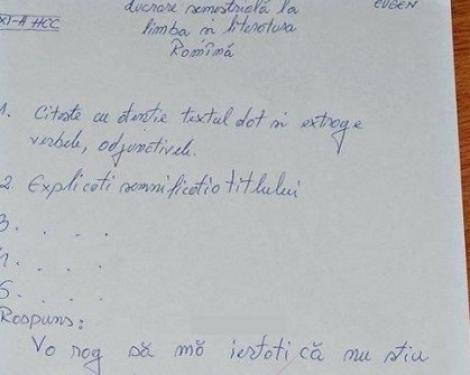 """Foto. Oferta incredibilă făcută de un elev profesoarei de limba română: """"Dacă îmi daţi nota 5, vă aduc…"""""""