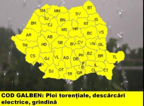 Potop în România! Atenționare meteo de ultimă oră de la ANM! Cod galben de ploi abundente
