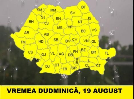 Vremea 19 august. Prognoza meteo ploi violente. Când se schimbă vremea