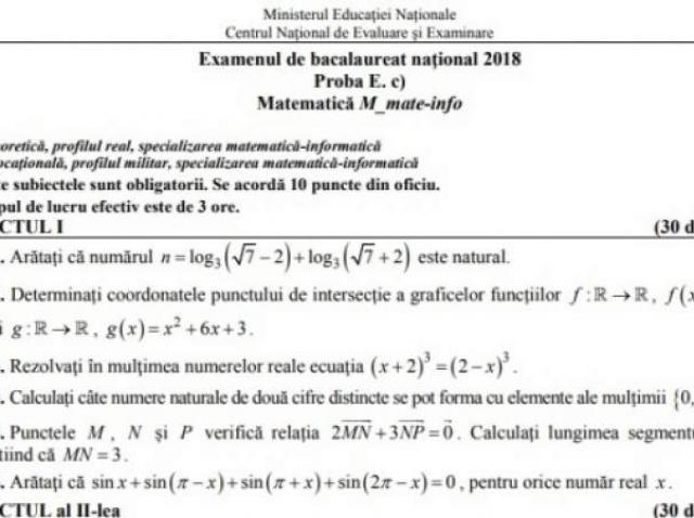 Subiecte BAC Toamnă 2018. Ce pică la matematică