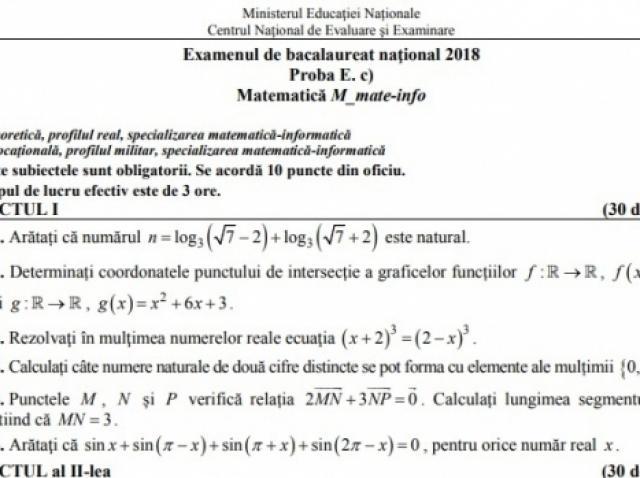 UPDATE: BAC 2018 Sesiunea Toamna. Subiectele care au picat la Matematică (REAL)