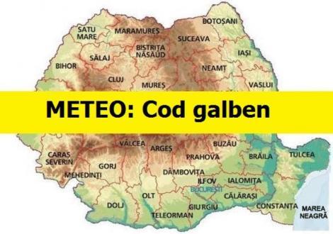 Alertă meteo! Cod galben extins în țară! Județele afectate, în următoarele ore