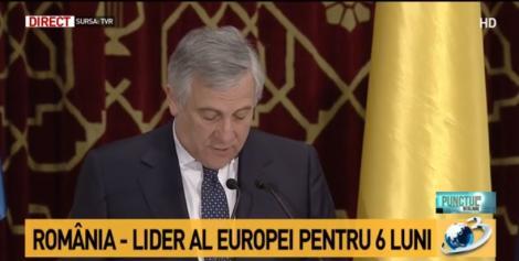 """Preşedintele Parlamentului European, Antonio Tajani, apel către țările ce blochează aderarea României la Schengen: """"Să îşi modifice poziţia!"""""""