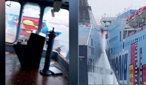 Video: Imaginile prăpădului! Două feriboturi se ciocnesc în portul Olbia, Sardinia din cauza fenomenelor meteo extreme