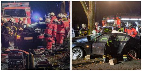 Șase români, implicați într-un accident grav, în timpul unei curse ilegale de mașini! Trei dintre ei sunt în stare critică, iar 11 mașini au fost distruse