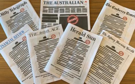 Semnal de alarmă în Australia. Ziare editate cu texte acoperite de tuș negru
