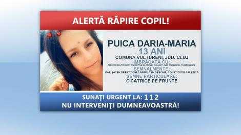 Poliţiştii caută o fată de 13 ani din judeţul Cluj, care ar fi fost răpită de un tânăr de 27 de ani
