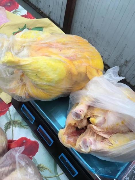 Galaţi: Carne cumpărată din magazine şi vopsită cu galben, pentru a fi vândută ca provenind de la păsări crescute în curte, găsită de poliţiştii locali în zona unei pieţe - FOTO, VIDEO