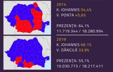 Cât și cum a câștigat Iohannis în 2014 și în 2019. Harta cu județele pierdute de PSD la prezidențiale, pe mâna Vioricăi Dăncilă