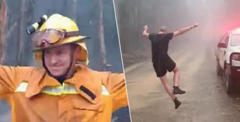 Motiv de sărbătoare pentru pompierii din Australia! Aceștia au cântat și dansat după ce a început să plouă peste pădurea cuprinsă de flăcări - VIDEO