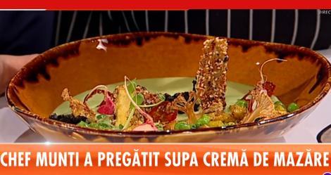 Supă cremă de mazăre cu chipsuri de legume - Rețeta lui Chef Munti