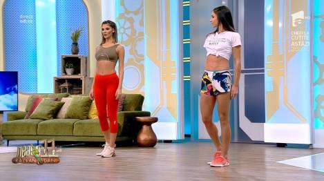 """""""Fundulețul mai jos, Ramona!"""". S-a încins atmosfera la """"Neatza cu Răzvan și Dani"""", cu un antrenament sexi cu… farfurii, pentru coapse, abdomen și fesieri - Video"""