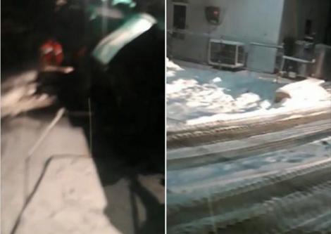 """Au asfaltat zăpada! Nu, nu este o glumă! Imagini incredibile, dintr-o comună din România! """"Dacă se constată că e în regulă, e bine, dacă nu, îl scoatem afară"""" - Video"""