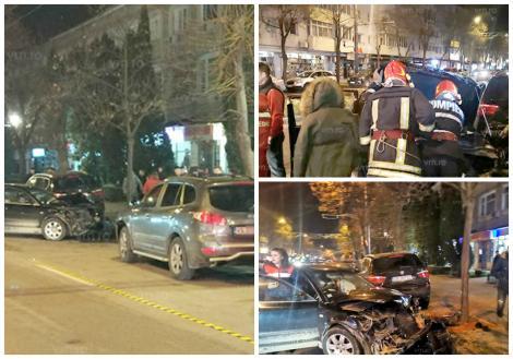 Șase mașini, făcute praf după ce un șofer teribilist a pierdut controlul volanului, în timpul unei întreceri