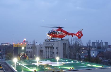 """Premieră! Au fost transportați, pe timp de noapte, pacienți pe Heliportul Spitalului Universitar Bucureşti! """"Reprezintă un mare avantaj"""""""