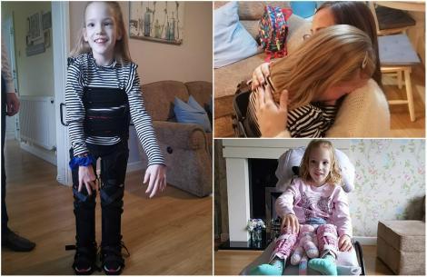 """Minune înainte de Crăciun. O copilă a făcut primii ei pași, la zece ani! Prietenii și rudele ei, gest extraordinar pentru micuța condamnată la suferință: """"A plâns de fericire"""""""