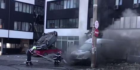 Explozie la Galați, într-o fostă benzinărie. Patru mașini au fost aruncate în aer