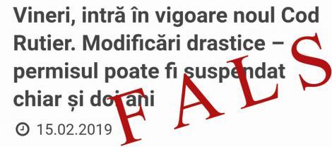 Codul Rutier 2019. Poliția Română face precizări cu privire la amenzi și la suspendarea permisului