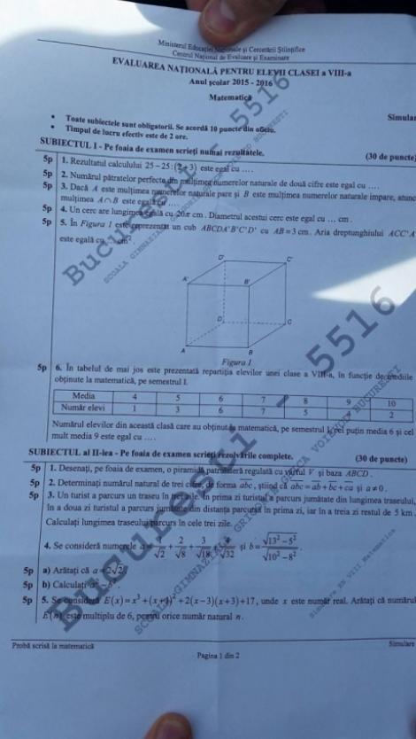 Încep testările pentru simularea Evaluării Naționale pentru elevii de clasa a VII-a și a VIII-a. Modele de subiecte