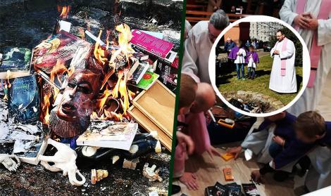 """Preoți filmați în timp ce dau foc unor obiecte: """"Veţi arde în foc idolii lor. O să vină timpul"""""""