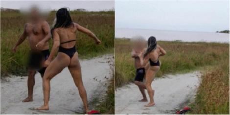 N-a știut cu cine se pune! O luptătoare MMA a snopit în bătaie un bărbat care s-a autosatisfăcut în fața ei pe plajă - Foto