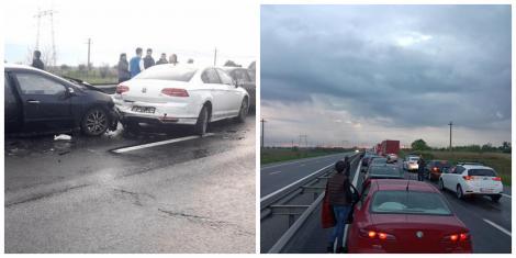 Accident cu nouă mașini, pe Autostrada București-Pitești, în urmă cu puțin timp! Traficul este restricționat