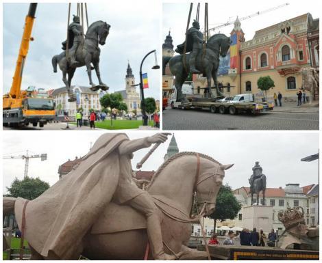 Statuia lui Mihai Viteazul, dată jos de pe soclul din centrul municipiului Oradea! Consilierii locali au decis ca locul lui Mihai să fie luat de un alt domnitor