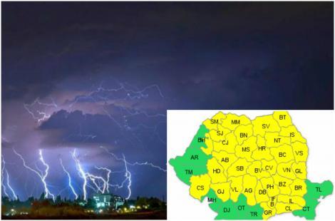 Alertă meteo! 37 de județe sub cod galben de instabilitate atmosferică accentuată