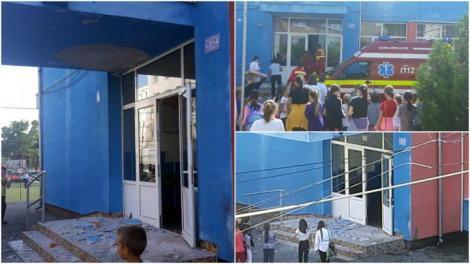 Incident grav într-o școală generală! Elev de zece ani, rănit la cap, după ce tencuiala de la intrare s-a prăbușit peste el