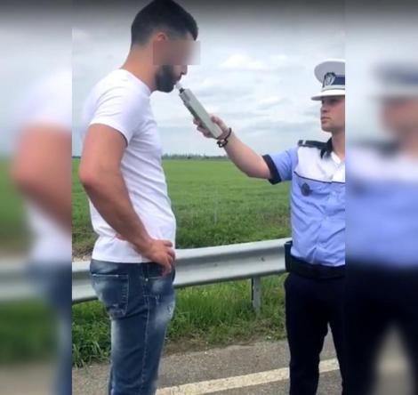 Cum reacționează un șofer prins băut la volan când i se pune aparatul etilotest în față! Imaginile sunt virale