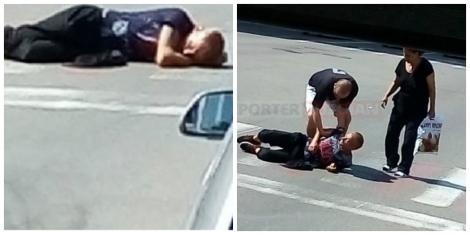 """Caz neobișnuit la Buzău! Un bărbat a adormit, în plină zi, pe trecerea de pietoni: """"Șoferii claxonau, dar nu se mișca!"""""""