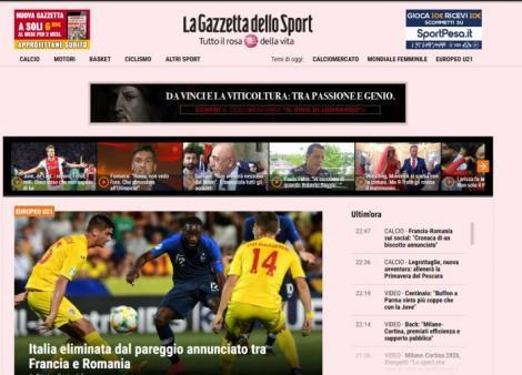"""Gazzetta dello sport: """"Italia, eliminată de anunţata remiză dintre Franţa şi România"""". Cand are loc finala Euro21"""
