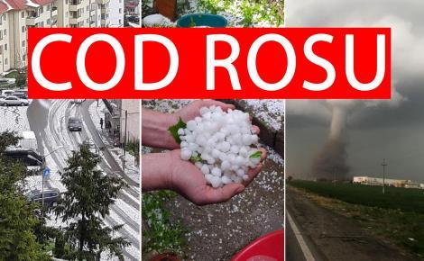 Alertă meteo! Cod roșu de ploi torențiale, vânt și grindină în două județe