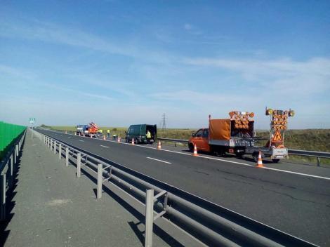 O bandă a sensului către Litoral al Autostrăzii Soarelui este blocată până la ora 12:00, din cauza unor lucrări