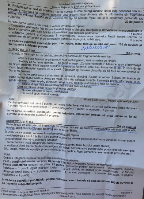 """Bac 2019. Răspunsul unui elev la una dintre cerințele de la Română: """"Ca să nu te faci de râs ca Viorica Dăncilă, este necesară pregătirea înainte de un discurs"""""""