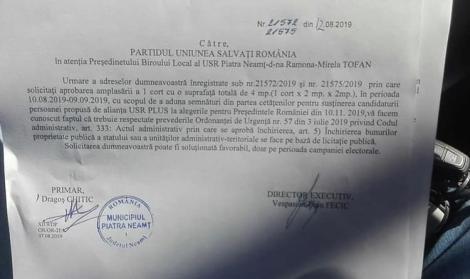 USR îl acuză pe primarul din Piatra Neamţ că cere licitaţie pentru amplasarea unui cort în care să strângă semnături pentru prezidenţiale