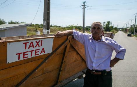 """Taxiul cu un singur cal putere se află în România.  """"Fac taximetrie cu căruţa de peste 20 de ani"""""""
