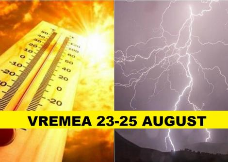 Prognoza meteo weekend 23 - 25. Vremea la extreme cu caniculă și furtuni