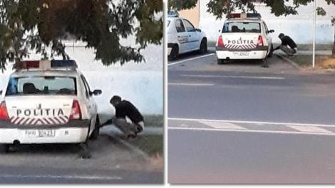 A dezumflat TOATE roțile mașinilor de poliție, chiar în parcarea unei secții din Timișoara, și a plecat liniștit! A fost fotografiat! Motivul pentru care este posibil să nu fie găsit vreodată. Foto