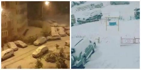 """Orașul în care a nins, încă din septembrie! Localnicii s-au trezit cu mașinile înzăpezite: """"E semn că iarna va fi lungă!"""""""