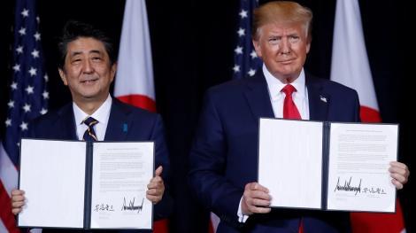 Statele Unite şi Japonia au semnat un acord comercial limitat, care nu elimină riscul impunerii de tarife pentru automobilele japoneze
