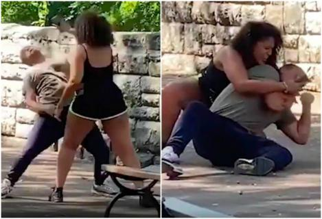 Video viral! Și-a luat la trântă iubitul, în parc, în văzul tuturor, ca să îi deblocheze telefonul mobil! Bărbatul nu a avut scăpare!